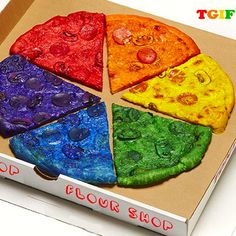 Rainbow pizza #2, with a dramatic use of food coloring, from Amirah Kassem of Flour Shop, profiled on the stylish-things site deuxmoi: