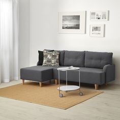 BASTUBO sofa-bed with chaise lounge, right, Nordvalla dark grey - Sofa beds / Sofa beds & chair beds / Sofas & Armchairs / IKEA Products 3 Seat Sofa Bed, Sofa Bed With Chaise, Grey Sofa Bed, Grey Couches, Chair Bed, Ikea Dinera, Dark Gray Sofa, Dark Grey, Sofas