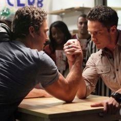 Michael Trevino and Taylor Kinney in The Vampire Diaries The Vampire Diaries, Vampire Diaries Seasons, Vampire Dairies, Vampire Diaries The Originals, Taylor Kinney, Michael Trevino, Stefan Salvatore, Wrestling Workout, Eric Northman