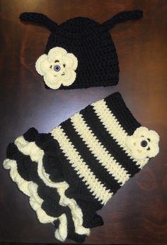 Crochet Bumble Bee Tutu Dress & Matching Beanie Hat Baby Costume Handmade Photo Prop. $55.00, via Etsy.