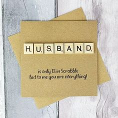 Husband Anniversary card Husband Birthday card Scrabble card | Etsy Baby Girl Cards, New Baby Cards, Romantic Cards, Romantic Love, Scrabble Cards, Scrabble Tiles, Anniversary Cards For Husband, Husband Birthday, Congratulations Card