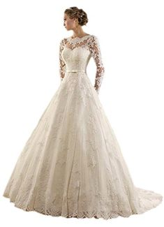 ESY 2016 Spring Garden Long Sleeve Wedding Dress Sheer Neck Ball Gown Bridal White US8 >>> Continue to the product at the image link.