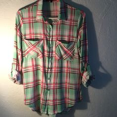 Blouse plaid Top size L Tops Button Down Shirts