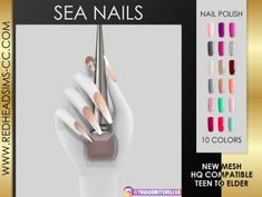 Nails: Sea Nails from Red Head Sims The Sims 4 Pc, The Sims 4 Skin, Sims Four, Sims 4 Mm, Sims Free Play, Sims 4 Nails, Los Sims 4 Mods, Maxis, The Sims 4 Cabelos