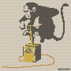This item contains two patterns: a monkey standing over a detonator, and a banana bomb.    This monkey cross stitch pattern uses 3 colors, has a stitch count of 2151, and dimensions of 90 x 90 stitches. It measures approximately:  5.0 x 5.0 on 18-ct.  5.7 x 5.7 on 16-ct.  6.5 x 6.5 on 14-ct.    This banana bomb cross stitch pattern uses 4 ADDITIONAL colors (thats 7 colors total for both patterns), has a stitch count of 989, and dimensions of 40 x 60 stitches. It measures approximately:  2.3…