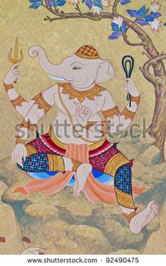 stock photo : Vintage traditional Thai style art painting on temple for background.