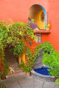 Architectural detail of a Garden in San Miguel de Allende, Mexico. Everything is colorful, everywhere