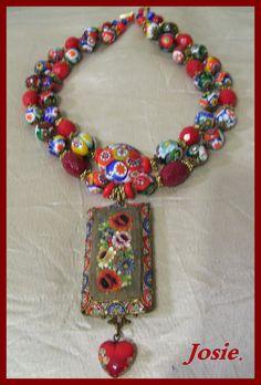 Josie's Creation (Josefina Diaz) made it from millefiori vitange bead.