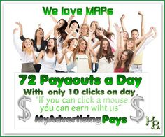 If you can click a mouse, you can make money here. With only ten clicks a day you get 72 times a day money. Inform here and sign up:http://www.myadvertisingpays.com/cp1.asp?SponsId=9529