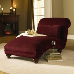 Home Decor, Maroon Red Small Chaise Lounge Chair Indoor That Look So Comfortable And Elegant With Unique Design Ideas With Some Books And Wine Glass With Small Vanity ~ Furnish Your Room With The Beautiful Design Of Chaise Lounge Chairs Indoors