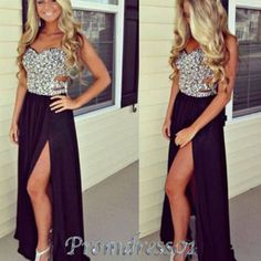 2015 prom dresses by #promdress, sweetheart strapless beaded side slit black chiffon hollow out prom dress for teens, ball gown, evening dress, grad dress show off your tan! Organic Sunless Tanner. Get it @MySkinsFriend.com