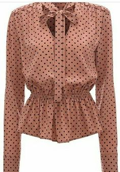 From the iconic British fashion designer Markus Lupfer, this super cute silk polka dot blouse features a V neck, ribbon tie and flattering peplum waist. Elegant with a touch of urban sass. Wear it with jeans, skirt or tailored trousers. Cute Casual Outfits, Chic Outfits, Fashion Outfits, Blouse Outfit, Blouse And Skirt, Casual Fashion Trends, Dress Neck Designs, Vintage Inspired Outfits, Moda Emo