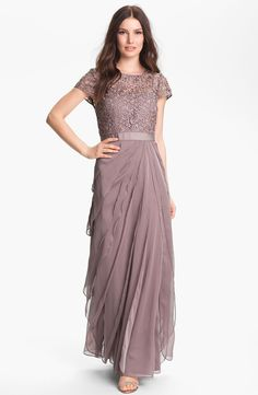 Adrianna Papell Layered Chiffon & Lace Gown | Nordstrom