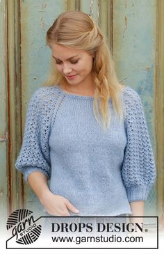 Jumper with raglan and lace pattern on sleeves, worked top down. The piece is worked in DROPS Alpaca and DROPS Kid-Silk. Knitting Machine Patterns, Sweater Knitting Patterns, Lace Knitting, Knit Patterns, Drops Design, Crochet Beanie Pattern, Knit Crochet, Free Crochet, Summer Knitting