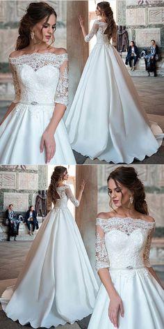 Half Sleeve Wedding Dress, Lace Wedding Dress, Satin Wedding Dress, White Wedding Dress M3956