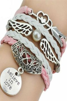 'Believe In Love' Faux Leather Bracelets - Pink