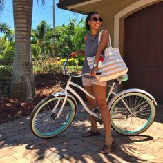 What Nicole Wore // vera bradley striped tote, karen walker sunglasses, j crew shorts, fossil watch