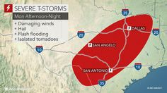 Severe thunderstorms and flooding will pose dangers to residents and travelers across Texas spanning Monday into Tuesday.