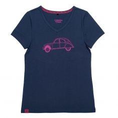 T-shirt 2CV Bleu Marine/Fuschia Femme