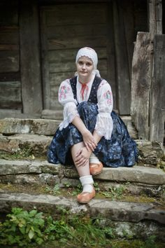 Kysuce region, Nothern part of Central Slovakia. Folk Costume, Costumes, Ethnic Outfits, Ethnic Clothes, Folk Clothing, Folk Embroidery, Renaissance Fair, We Are The World, Traditional Dresses