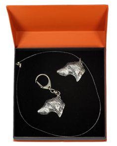 Deerhound, Dog Keyring and Necklace in Casket, Prestige Set, Limited Edition, ArtDog Casket, The Prestige, Doge, Jewelry Sets, Statue, Drop Earrings, Silver, Image Link, Gifts
