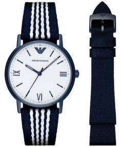 Emporio Armani Men's Kappa Interchangeable Blue/White & Blue Nylon Strap Watch 41mm  | macys.com