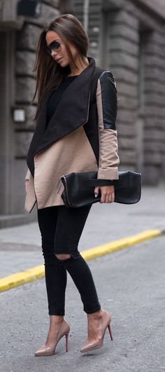 Awesome Fall Outfits Copy Now Fashion Trends Jacket Plus Clutch Plus Black Ripped Jeans Plus Nude Heels Mode Outfits, Casual Outfits, Fashion Outfits, Womens Fashion, Fashion Trends, Fashion Styles, Fashion Ideas, Heels Outfits, Black Outfits