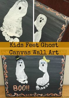 Kids Feet Ghost Canvas Wall Art. Memory maker halloween decoration of the kiddos feet with this Kids Feet Ghost Canvas Wall Art.