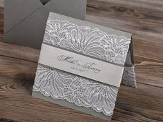 Silver and Grey Lace  Wedding Invitation Pocket by DecorisWedding, $5.80