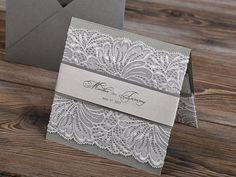 Silver and Grey Lace Wedding Invitation Pocket by DecorisWedding, $5.80