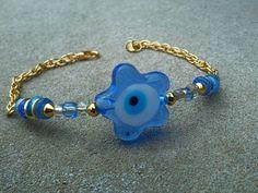 CLEARANCE  Blue Evil Eye Bracelet with ♥ #EtsyJewelry