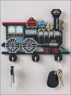 Plastic Canvas - Wall & Door Hanging Patterns - Other Patterns - Antique Train Key Holder