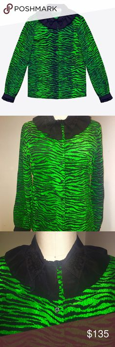 Kenzo x H&M Blouse - 8 Kenzo x H&M ‼️Special Edition Sold Out Everywhere‼️                                                                The standard blouse is reinterpreted in Kenzo's signature tiger stripes, while a bright green is tempered with a black collar with beaded tigers and frill details. NWT Kenzo Tops Blouses