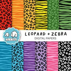 Clip Art, Papers: Leopard and Zebra Print Digital Papers for Personal and Commercial Use