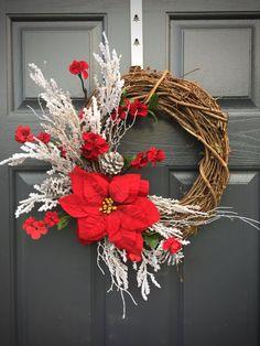 Poinsettia Wreath Christmas Wreaths Christmas by WreathsByRebeccaB