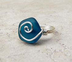 Peacock Blue Sea Glass Ring:  Silver Swirl Wire Wrapped Beach Jewelry, Size 6, Teal Wedding. $18.00, via Etsy.