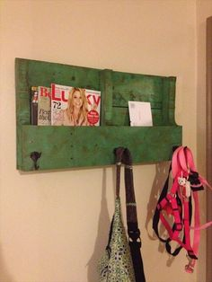 "Pallets » DIY Wooden Pallet Wall Shelves (perfect for our back door- a hook for kids backpacks, and a shelf for finished homework - (once I've looked it over, I'll put the homework in the backpack) no more ""Ooops Teacher I forgot it"")"