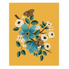 Rifle Paper Co. Monarch Art Print Beautiful and detailed art print from Rifle Paper Co. featuring two Monarch butterflies, a marigold background and turquoise flowers. Perfect for any room that needs a pop of color – or has a lot of c Art And Illustration, Floral Illustrations, Art Floral, Floral Prints, Art Prints, Art Et Nature, Rifle Paper Company, Guache, Gouache Painting