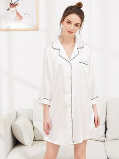 SweatyRocks Solid Contrast Binding Satin Shirt Dress Summer Women 2019 Spring Casual Collar Nightgown Long Sleeve Night Dresses - white,m Pop Fashion, Fashion News, Fashion Styles, Romwe, Pyjamas, Pyjama Satin, Bodysuit, Satin Shirt, Young Models