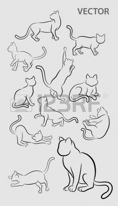 Cat Жест Эскизы художественными кистями