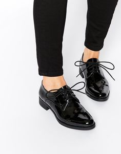 Faith+Andorra+Black+Patent+Flat+Shoes