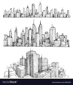 Find Hand Drawn Big Cities Cityscapes Buildings stock images in HD and millions of other royalty-free stock photos, illustrations and vectors in the Shutterstock collection. Thousands of new, high-quality pictures added every day. Cityscape Drawing, City Drawing, Drawing Sketches, Art Drawings, Drawings Of Buildings, City Buildings, Interior Architecture Drawing, Architecture Drawing Sketchbooks, Building Drawing