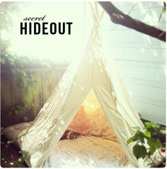 backyard teepee - secret hideouts Never too old to sneak away and read a good book