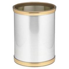 "Round waste basket with a brushed chrome finish and brass-hued accents. Made in the USA.  Product: Waste basketConstruction Material: MetalColor: Brass and brushed chromeFeatures: Made in the USADimensions: 12"" H x 10"" Diameter"