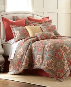 Create the bohemian bedding oasis of your dreams with this eye-catching Aladdin Comforter Set from Sherry Kline. This vibrant and eclectic set features a floral leaf medallion motif in teal, coral and taupe hues for a luxurious look you will adore. Blue Comforter Sets, Bedding Sets, Teal Bedding, Bohemian Bedding, Space Furniture, T 4, Comforters, Aladdin, 3 Piece