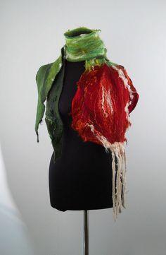 Felted Scarf  Wrap Scarve Felt Nunofelt Nuno felt Silk Silkyfelted Eco shawl Fiber Art  {*}