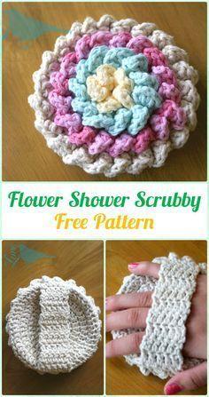 Crochet Flower Shower Scrubby Free Pattern - Crochet Spa Gift Ideas Free Patterns