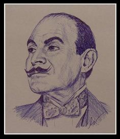 Christiane Ertmer sent us this detailed sketch of Agatha Christie's Poirot, as played by David Suchet. Posted to our Facebook page.