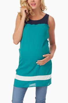 Jade & Navy Colorblock Maternity Tunic #maternity #fashion