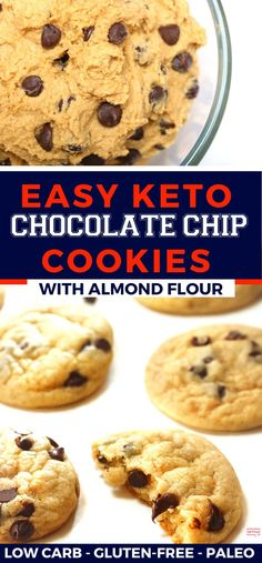 This Easy Keto Chocolate Chip Cookie Recipe Is The Ultimate Healthy Low Carb Cookie (Crispy, Chewy & - Zuckerfreie Kekse Keto Chocolate Chip Cookie Recipe, Chocolate Chip Cookies Ingredients, Healthy Chocolate Chip Cookies, Keto Chocolate Chips, Keto Cookies, Sugar Free Cookies, Healthy Cookie Recipes, Yummy Recipes, Keto Recipes
